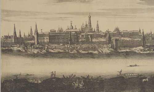 1707-1708 гг. Панорама г. Москвы. Офорт П. Пикара. И. Бликланда. Фрагмент