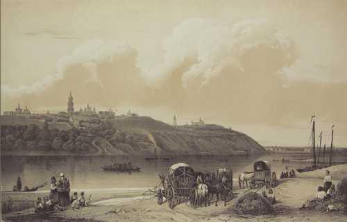 Кон. XIX в. Вид части Киева из-за Днепра. Литография